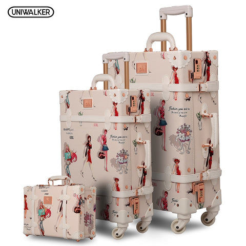 "12"" 20"" 26"" 3Pcs Set Fashion Girl Retro Rolling Luggage Bagages Pu Suitcase Trunk Vintage"
