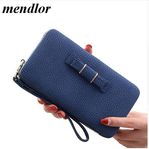 Colorful Bowknot Pendant Pu Leather Long Design Women Wallet Coin Purse Ladies Handbag Day Clutch
