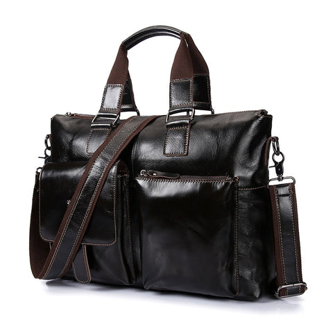 New Genuine Leather Business Briefcase Men Handbags  Shoulder Crossbody  Bag Luxury Soft Skin