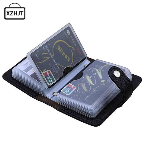 Fashion Pu Leather Function 24 Bits Card Case Business Card Holder Men Women Credit Passport Card
