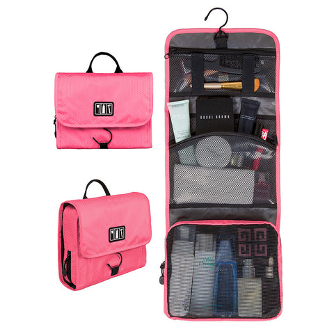 BAGSMART Waterproof Travel Toiletry Bag With Hanger Cosmetic Packing Organizer Wash Bag Makeup