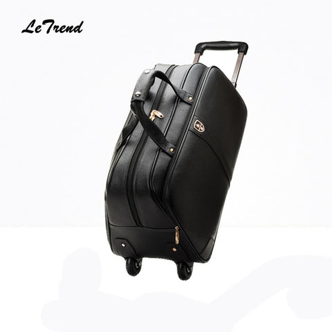 Letrend 100% Genuine Leather Travel Bag Rolling Luggage Spinner Suitcases Wheel 20 Inch Carry On