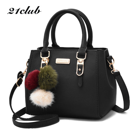 21Club Brand Women Hairball Ornaments Totes Solid Sequined Handbag Hotsale Party Purse Ladies