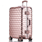 Letrend Aluminium Frame Rose Gold Rolling Luggage Spinner Trolley Travel Bag 20 Inch Women Men