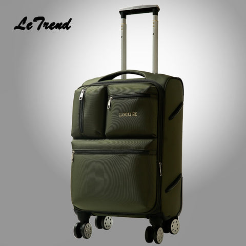 Letrend Men Business Oxford Rolling Luggage Spinner Wheel Suitcase Trolley 20 Inch Student Carry On