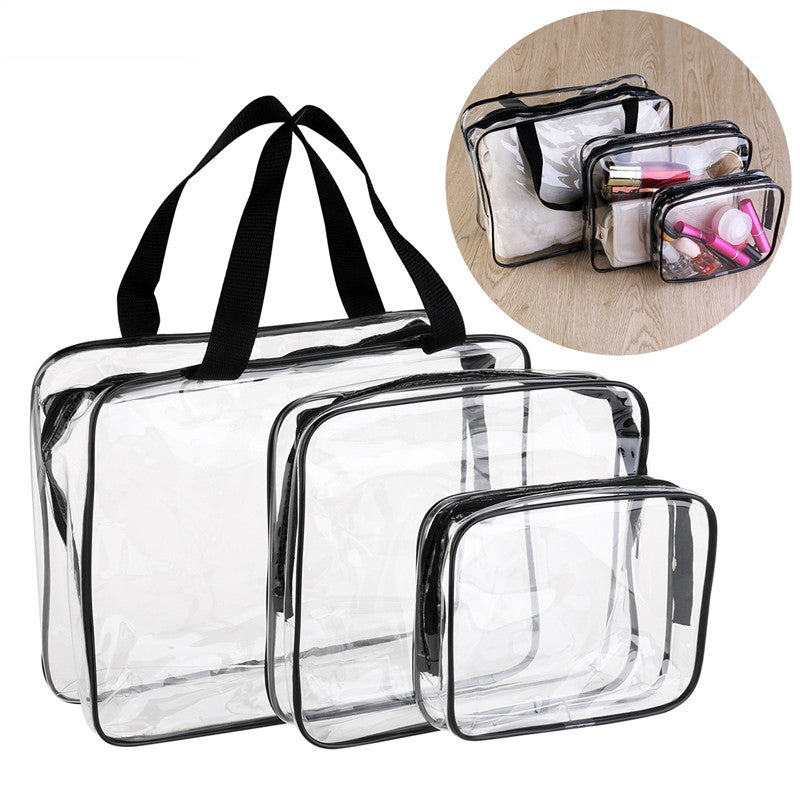 Vorcool 3-In-1 Pvc Transparent Cosmetic Tote Bag Toiletry Organizer Handbags