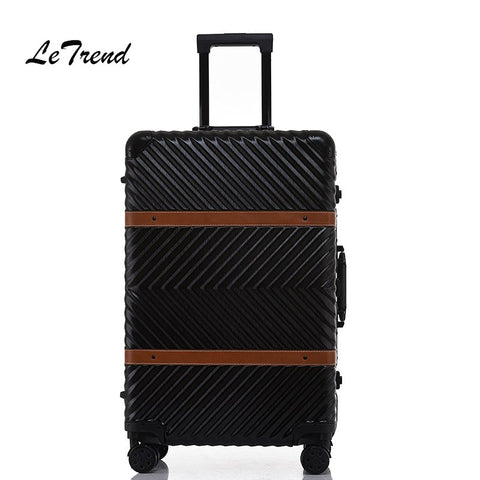 Letrend Aluminium Frame Rolling Luggage Spinner 20 Inch Business Travel Bag Retro Trolley Cabin