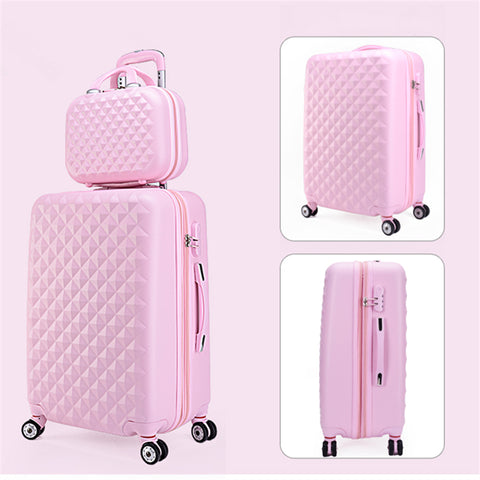 Wholesale!14 20Inches Abs Pc Case Travel Lluggage Bags Set,Korea Fashion Style Diamond Candy