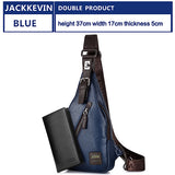Jackkevin Men'S Fashion Crossbody Bag Theftproof Rotatable Button Open Leather Chest Bags Men