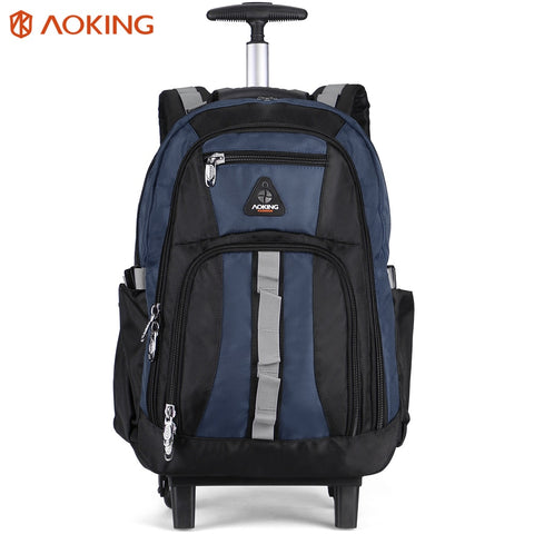 Aoking Men'S Trolley Backpack Luggage Large Capacity Travel Trolley Bags Waterproof Simple Design