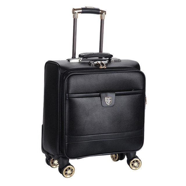 6935d5313e Shop 16 Inch New Pu Leather Trolley Suitcase Spinner Wheels Boarding ...