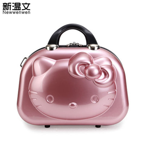 13 Inch Cute Travel Luggage Hello Kitty Women Make Up Bags,Girls Cartoon Suitcase,Hello Kitty