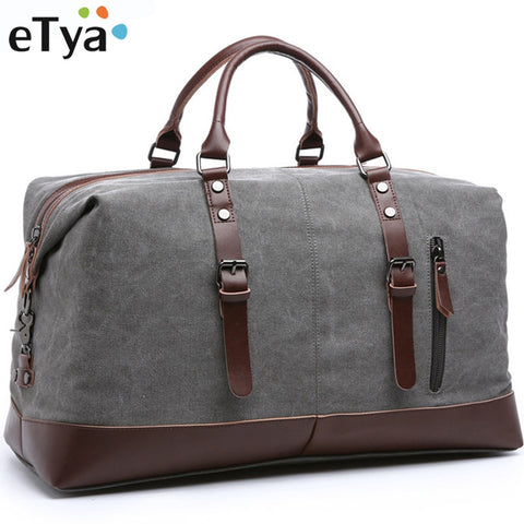 Etya Canvas Leather Men Travel Bags Carry On Luggage Storage Bags Fashion Men Business Bags Tote