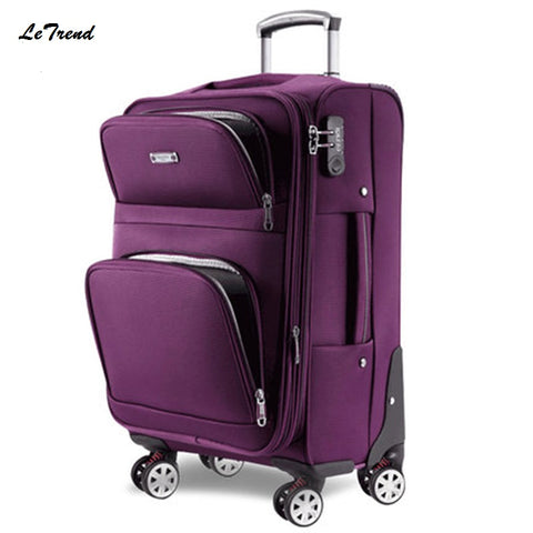 Letrend Men Rolling Luggage Spinner Travel Bag Suitcases Wheel Trolley Business Carry On Luggage