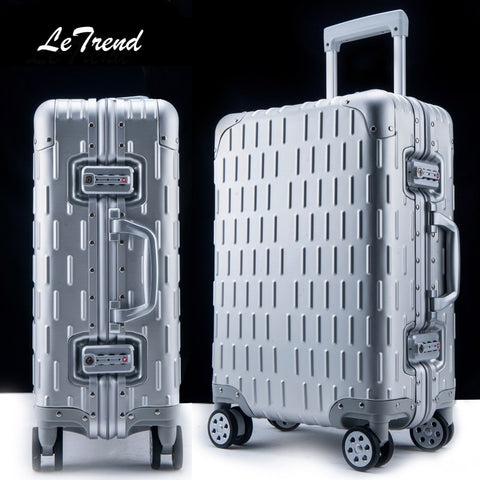 Letrend 100% Aluminum Alloy Rolling Luggage Spinner Women Trolley Travel Bag 20 Inch Men Business