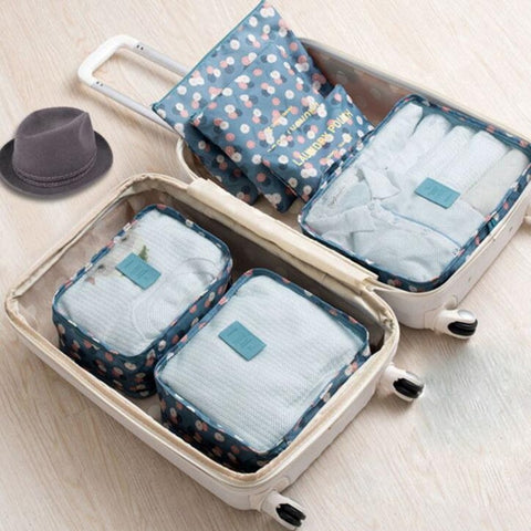 2018 6Pcs/Set High Quality Oxford Cloth Travel Mesh Bag Luggage Organizer Packing Cube Organiser