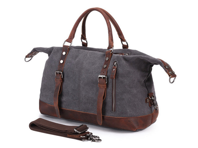 Men'S Travel Bags Vintage Leather Canvas Carry On Luggage Bags Big Men Duffel Bags Travel Tote