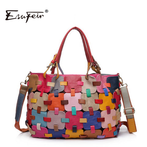 Esufeir 2018 100% Genuine Leather Women Handbag Cow Leather Multi Shoulder Bag Casual Colourful
