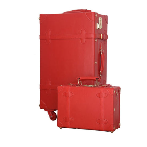 12 22Inches Retro Suitcase Box,Female Korea Fashion Red Bride Luggage Set,Vintage Pu Leather