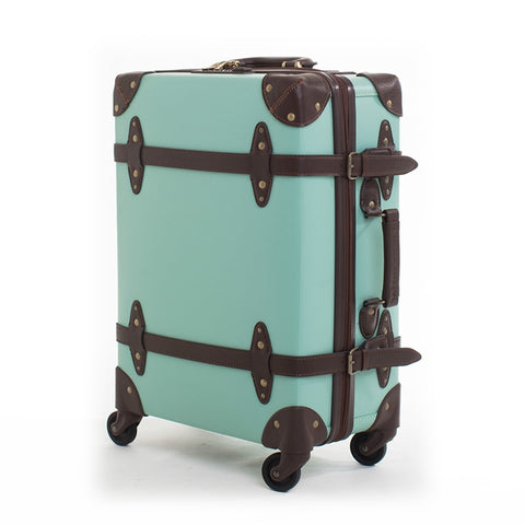 Letrend Fashion Vintage Suitcase Wheels Leather Rolling Luggage Spinner Women Retro Trolley Cabin