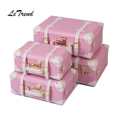 Letrend Korean Trolley Cute Pink Suitcase Wheels Cosmetic Case Women Vintage Leather Travel Bag