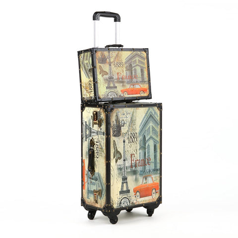 20 24 14 Inch Pu Wood Frame Universal Wheel Rolling Paris Style Carry-Ons Luggage Travel Case