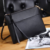 Coofit Women'S Clutch Bag Simple Black Leather Crossbody Bags Enveloped Shaped Small Messenger