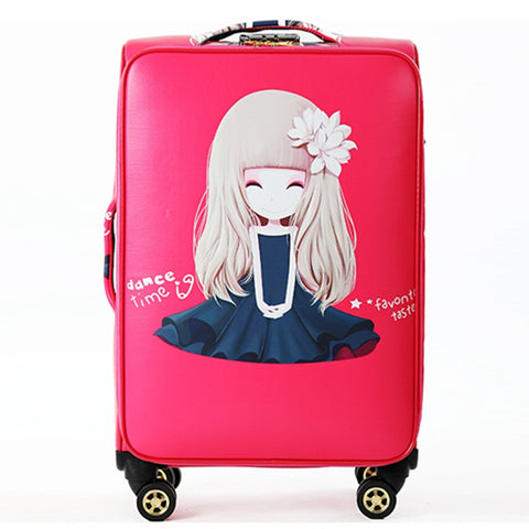 Beautiful Girl Pattern Large Capacity Suitcases Bags, Woman High Quality Multicolor Travelling