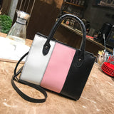 Woman Tote Casual Bags Crossbody Bag Hit Color Leather Handbag Shoulder Bag