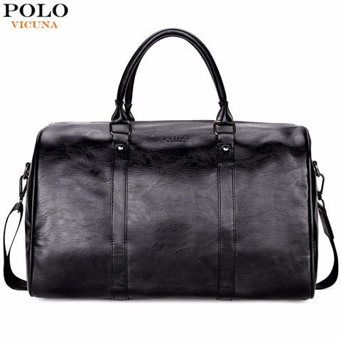 Vicuna Polo Casual Business Men Travel Bags Large Capacity Rolling Travel Handbag Black Leather