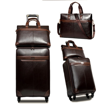 Letrend Men Business Pu Leather Rolling Luggage Set Spinner Retro Trolley 16 Inch Carry On