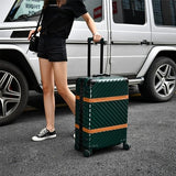 "Aluminum Frame+Pc+Abs Rolling Luggage, 20""24""26""29""Inch Crash Proof Truckle Suitcase,Castor Lock"