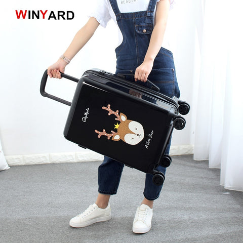 Wholesale!24 Inches Fashion Retro Cartoon Hardside Suitcase For Men And Women,Red Pink Black Girl