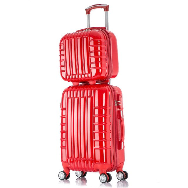 20 24 Inch Universal Wheel Rolling Carry-Ons Luggage Travel Case New Red Married Abs Pc Suitcase