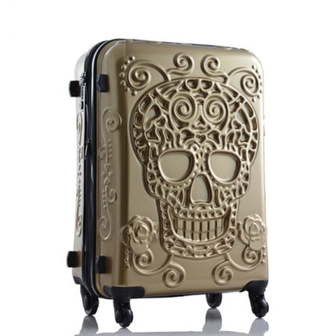 Letrend 3D Skull Rolling Luggage Spinner Women Rose Gold Suitcases Wheels Cabin Trolley Travel
