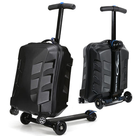 Travel Tale 100% Pc Personality Cool Scooter Suitcase Carry On Spinner Wheel Multi-Function