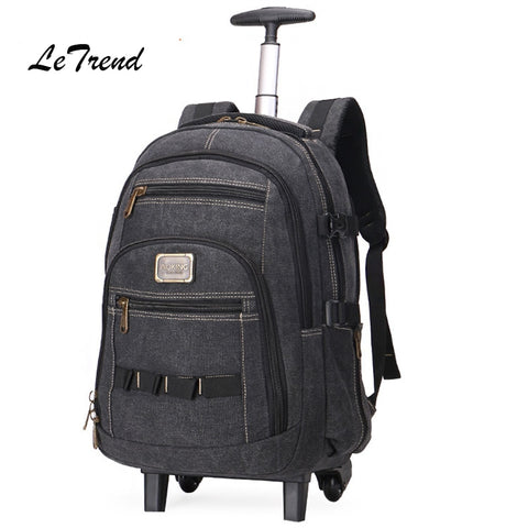 Letrend Business Travel Bag Large Capacity Suitcases Wheels Men Shoulder Backpack Rolling Luggage