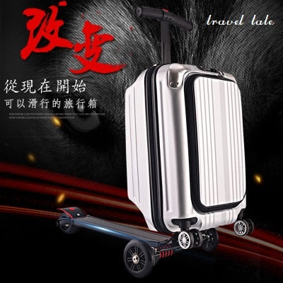 "Travel Tale 21"" 100% Pc Personality Cool Scooter Suitcase Carry On Spinner Wheel Multi-Function"