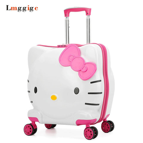 Kids Rolling Luggage Bag,Children'S Hello Kitty Suitcase With Wheel,Child Trolley With Lock,Boy