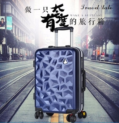 Travel Tale Fashion 3D Diamond Stone 20/24 Inch Size Pc Rolling Luggage Leisure Business Spinner