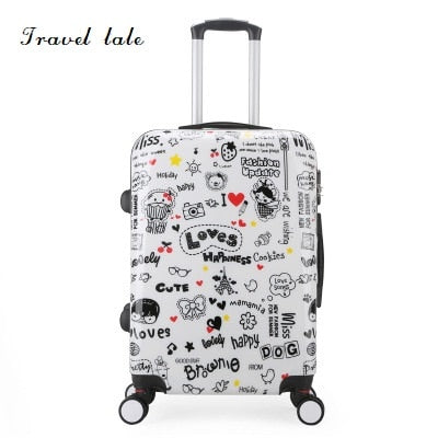 Travel Tale Personality Cartoon Pattern 20/24 Inch Rolling Luggage Spinner Brand Travel Suitcase