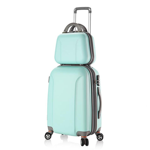 Women Abs Spinner Luggage And Cosmetic Bag 2Pcs Set 20/24/28 Inch Coded Lock Travel Trolley