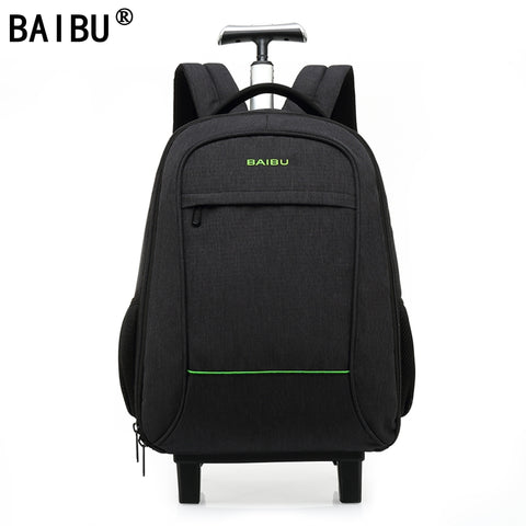Baibu High Quality Waterproof Travel Trolley Backpack Luggage Bags Wheeled Carry-Ons Bags Large
