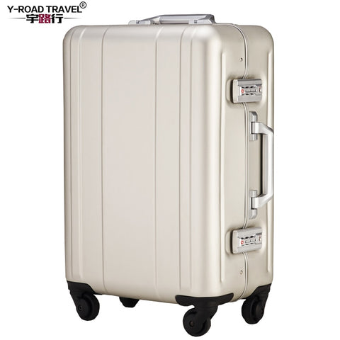Y-Road Travel Trolley Luggage Suitcase 100% Aluminum Shell Case With Tsa Lock Hardside Rolling