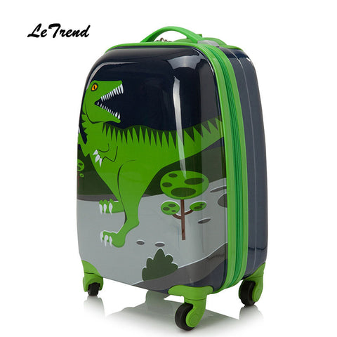 Letrend Cute Cartoon Suitcases Wheel Kids Dinosaur Rolling Luggage Set Spinner Trolley Children