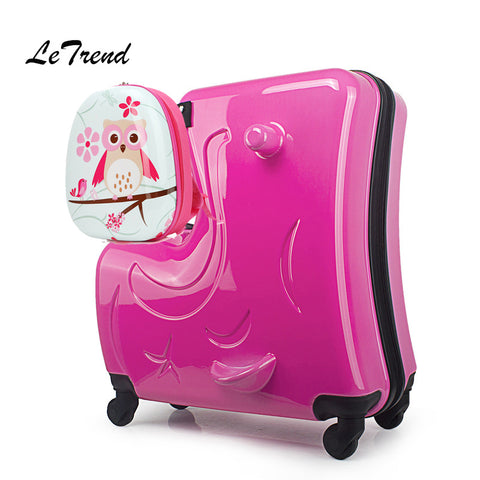 Letrend Children Rolling Luggage Set Spinner Wheels Suitcase Kids Cabin Trolley Student Travel