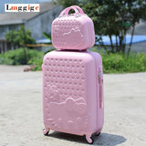 Women Children Luggage Suitcase ,Hello Kitty Bag Set,Cartoon Travel Box With Rolling ,Abs