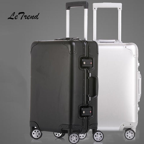 Letrend 100% Aluminum Alloy Rolling Luggage Spinner Women Trolley Suitcases Wheel Travel Bag