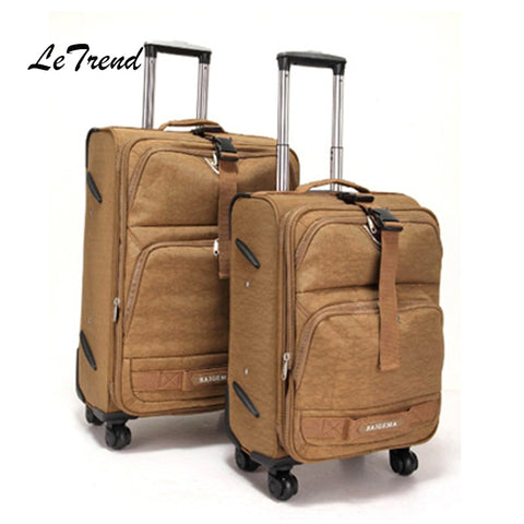 Letrend Men Oxford Rolling Luggage Spinner Business Trolley Women Multifunction Travel Bag 20