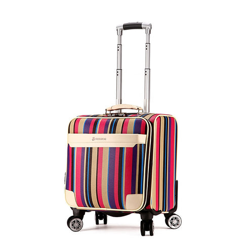 Universal Wheels Trolley Luggage 18 Commercial Male Women'S Small Suitcase Luggage,Color Rainbow